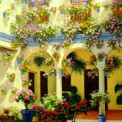 Пазл онлайн: Цветущий внутренний дворик