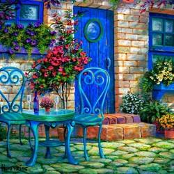 Пазл онлайн: Дом с голубой дверью