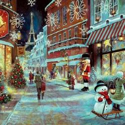 Пазл онлайн: Рождество в Париже