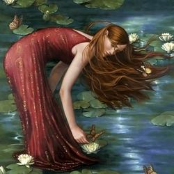 Пазл онлайн: Девушка и лилии