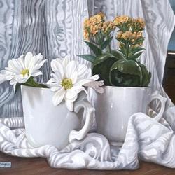 Пазл онлайн: Натюрморт с белыми хризантемами