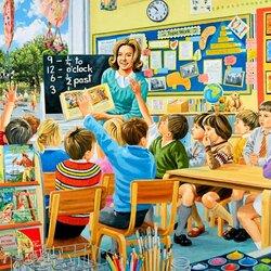 Пазл онлайн: Счастливые дни учителя