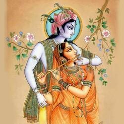 Пазл онлайн: Кришна и Радха