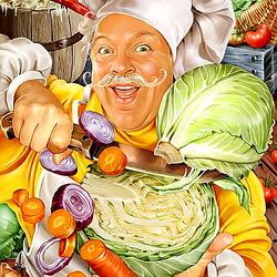 Пазл онлайн: Весёлый повар