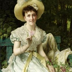 Пазл онлайн: Дама с розами