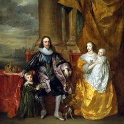 Пазл онлайн: Карл I и Генриетта Мария Французская с детьми