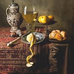 Пазл онлайн: Натюрморт с хлебом и лимонами