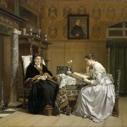 Пазл онлайн: Чтение у камина