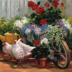 Пазл онлайн: Тележка с цветами