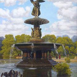 Пазл онлайн: Фонтан в парке