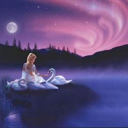 Пазл онлайн: Ночные лебеди