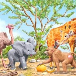 Пазл онлайн: Любопытный слонёнок