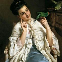 Пазл онлайн: Дама с попугаем