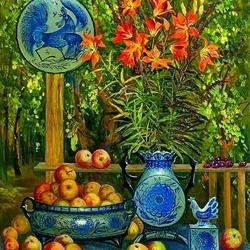 Пазл онлайн: Натюрморт с яблоками и лилиями