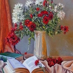 Пазл онлайн:  Натюрморт с цветами и книгами