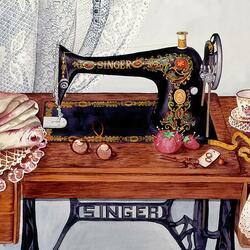 Пазл онлайн: Швейная машинка