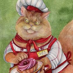 Пазл онлайн: Кот шеф-повар