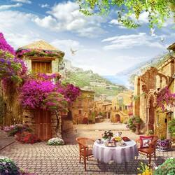 Пазл онлайн: Цветочная улица