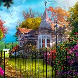 Пазл онлайн: Дом с садом
