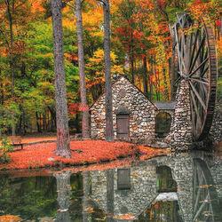 Пазл онлайн: Мельница в лесу