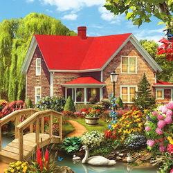 Пазл онлайн: Дом с садом у ручья