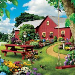 Пазл онлайн: Цветущий двор