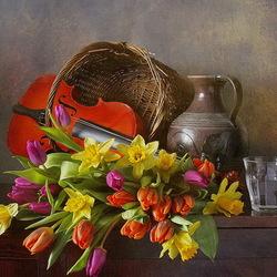 Пазл онлайн: Цветы и скрипка