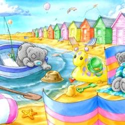 Пазл онлайн: Мишки Тедди на пляже