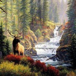 Пазл онлайн: У лесной реки