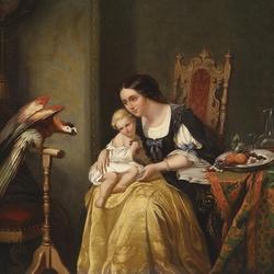 Пазл онлайн: Ребенок и попугай