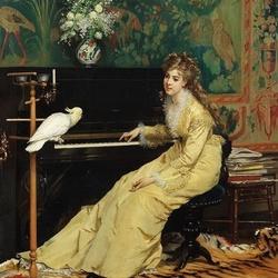 Пазл онлайн: Девушка у пианино с попугаем