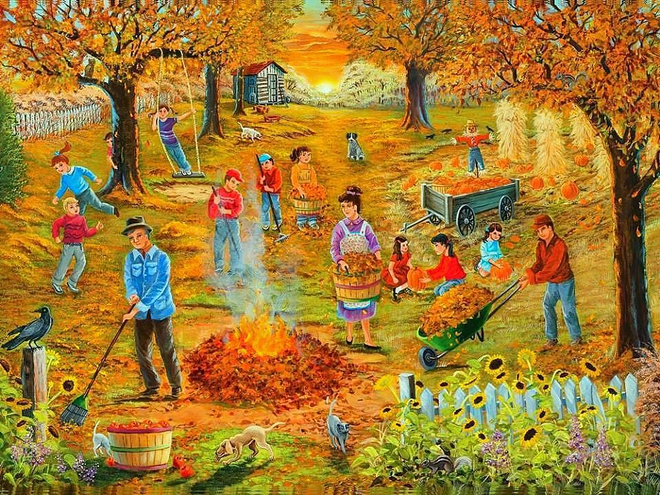 Детские картинки труд людей осенью