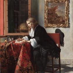 Пазл онлайн: Молодой человек, пишущий письмо