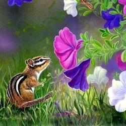Пазл онлайн: Бурундучок в саду