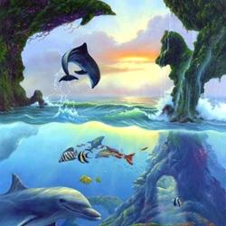 Пазл онлайн: Семь дельфинов