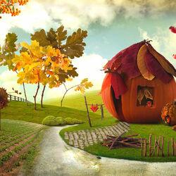 Пазл онлайн: Тыква-дом