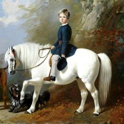 Пазл онлайн: Бересфорд Лаундс со своей любимой пони и собаками