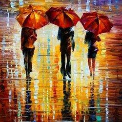 Пазл онлайн: Три красных зонта