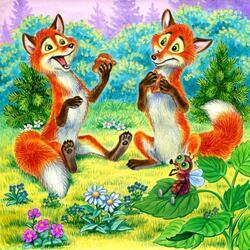 Пазл онлайн: Две лисички