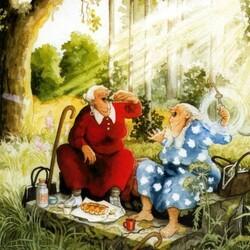 Пазл онлайн: Бабульки на пикнике