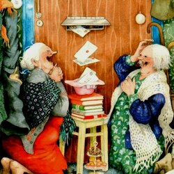 Пазл онлайн: Бабульки принимают поздравления
