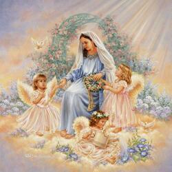 Пазл онлайн: Окружённая ангелами