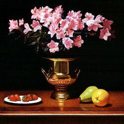 Пазл онлайн: Azeleans in a brass planter/Азалии в латунной вазе