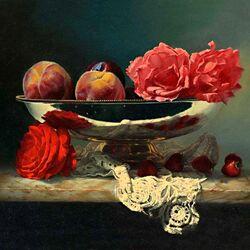 Пазл онлайн: Розы и фрукты