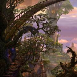 Пазл онлайн: Дома в деревьях