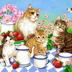 Пазл онлайн: Котята любят молоко...