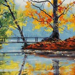 Пазл онлайн: Осеннее озеро