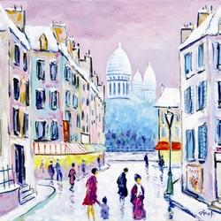 Пазл онлайн: Снежный день на Монмартре