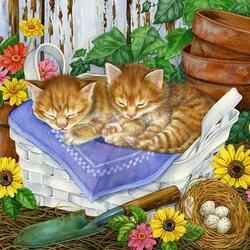 Пазл онлайн: Кошки в лукошке
