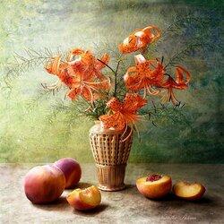Пазл онлайн: Натюрморт в оранжевых тонах